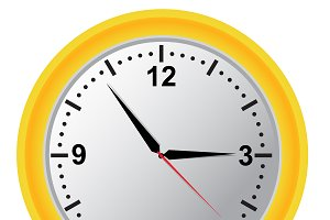 clock, vector, illustration, yellow