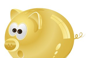 Piggy bank, money box, golden