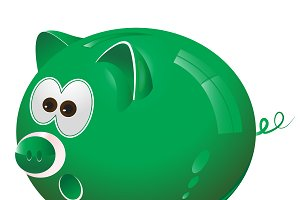 Piggy, money box, money bank, green