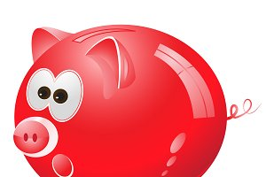 Piggy, money box, money bank, red