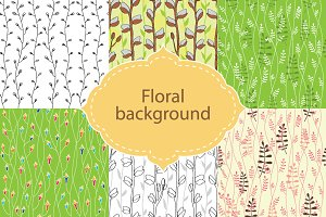 Set of 6 floral seamless patterns