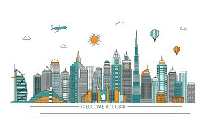 Dubai line skyline