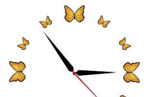 Clock, butterfly