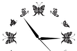 Clock, butterfly, black