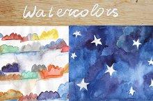 Watercolor sky backgrounds set