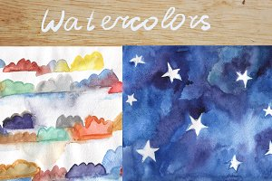 Watercolor sky backgrounds set