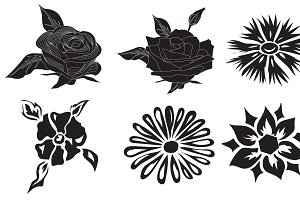 Set, black, flowers, vector