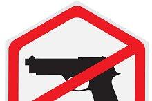 No, guns, allowed, sign, hexagon