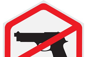 No, guns, allowed, sign, hexagon