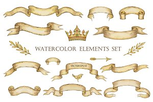 Watercolor elements set.