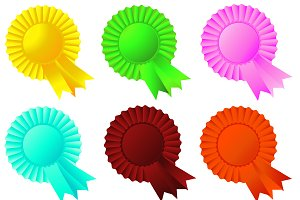 Set of rosette ribbons, vector