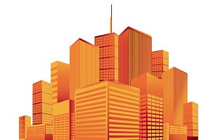 City, skyline, vector, silhouette