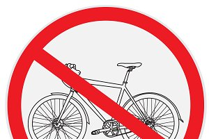 No, bicycle, bike, sign
