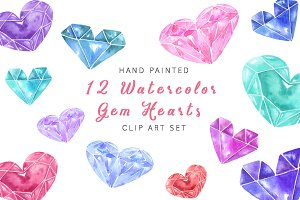 12 Watercolor Gem Hearts