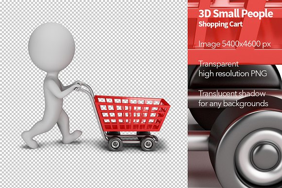 3d small people shopping cart illustrations creative market