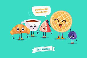 Breakfast. Funny characters