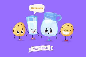 Best friends. Milk and cookies