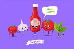 Funny garlic tomato and ketchup