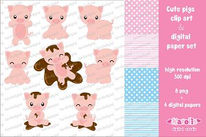 Cute pigs clip art set