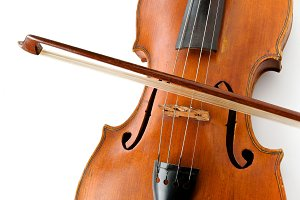 Old violin with the bow