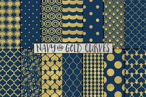 Navy Blue and Gold Foil Backgrounds