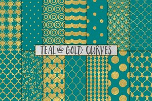 Teal and Gold Foil Backgrounds