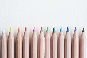 Art Pencils in a Row Styled Stock