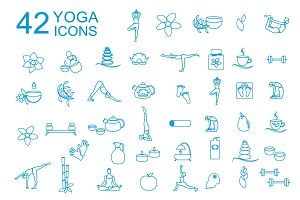 Spa and linear yoga icons
