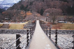 Bridge in Shirakawago village