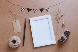 Photo frame mock up with cute craft