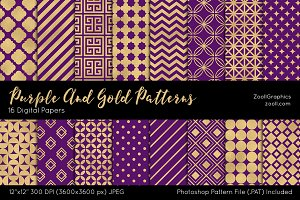 Purple And Gold Digital Papers