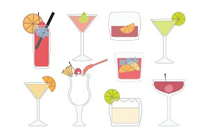 Set of Cocktails and Drinks.