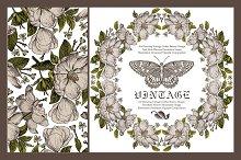Flowers Butterflies. Card, frame.