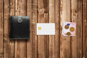 Credit card, cash euro and wallet