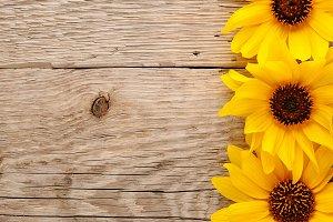 Decorative sunflowers on wood