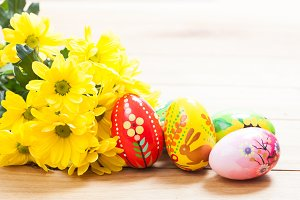 Hand painted Easter eggs and flowers