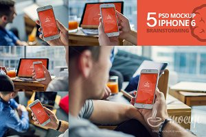 5 PSD Mockup iPhone 6 Brainstorming