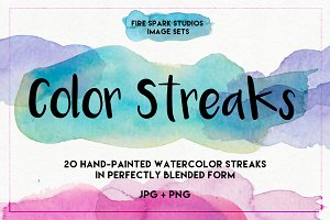 Watercolor Color Streaks