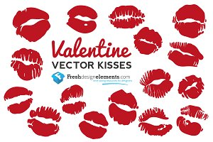 Free Valentine Vector Kisses