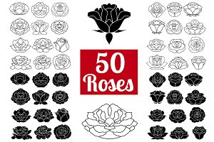 50 Rose Flowers: Logo Bundle