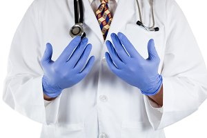 Doctor with latex gloves