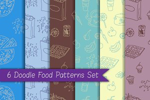 6 Doodle Food Patterns Set