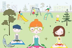 Yoga in park with children