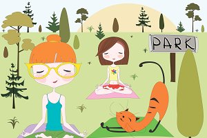 Girls and a cat making yoga in park