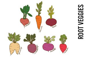 Root Vegetables Doodle Clipart
