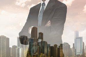 Skyline Businessman Double Exposure
