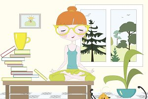 Girl making yoga in a room on table