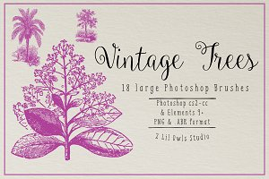 Vintage Trees Photoshop Brushes