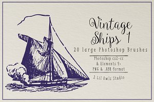 Vintage Ships 1 Photoshop Brushes