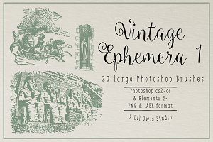 Vintage Ephemera 1 Photoshop Brushes